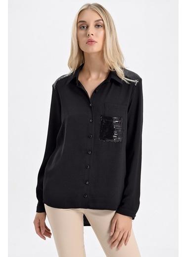 Jument Pul Garnili Yakalı Cepli Uzun Kol Gömlek Siyah